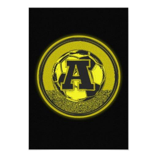 Gold Medal Soccer Monogram Letter A Custom Invitation