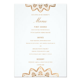 Gold Medallion Wedding Menu Card
