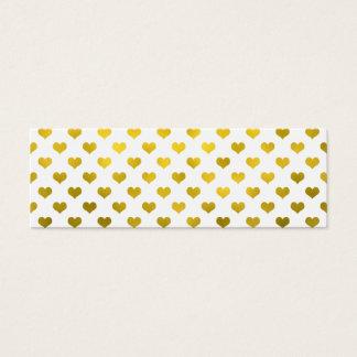 Gold Metallic Faux Foil Hearts Polka Dot Heart Mini Business Card