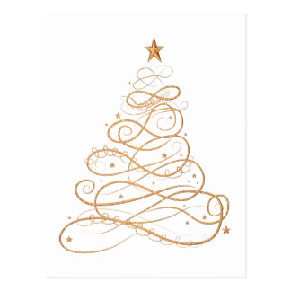 Gold Metallic Filigree Christmas Tree Postcard