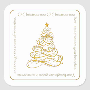 gold metallic filigree o christmas tree lyrics square sticker - Oh Christmas Tree How Lovely Are Your Branches Lyrics
