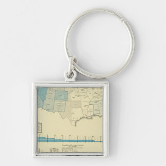 Gold mining regions Silver-Colored square key ring