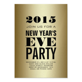 Gold Modern 2015 New Year's Eve Party Card