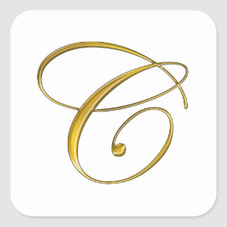 Gold Monogram C Stickers