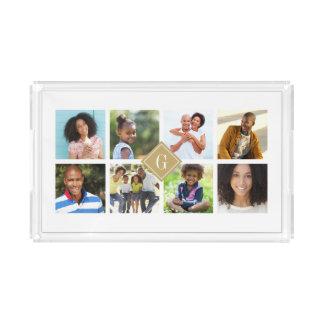 Gold Monogram Instagram Photo Collage Acrylic Tray
