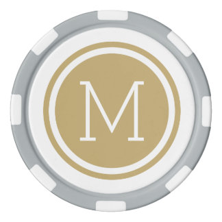 Gold Monogram Personalized Poker Chips