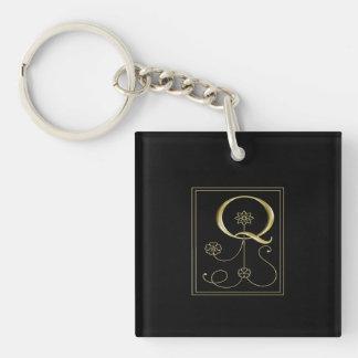 Gold Monogram Q Federlyn Keychain