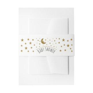 Gold Moon and Stars Baby Shower Invitation Belly Band