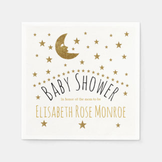 Gold Moon and Stars Baby Shower Paper Serviettes