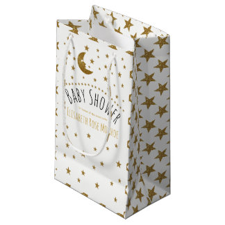 Gold Moon and Stars Baby Shower Small Gift Bag