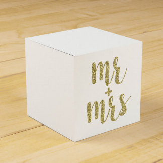 Gold Mr. & Mrs. favor boxes, glitter Favour Boxes