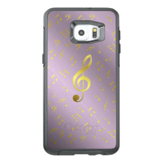 gold music notes in lilac otter box