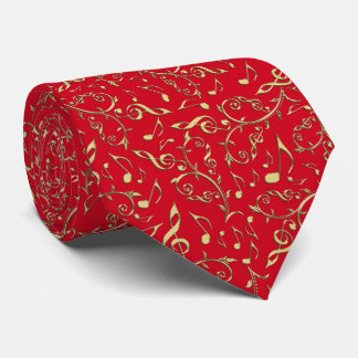 Gold Music Notes Red Or Custom Color Music Tie