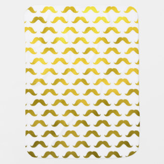 Gold Mustache Faux Foil Metallic Small Mustaches Swaddle Blanket