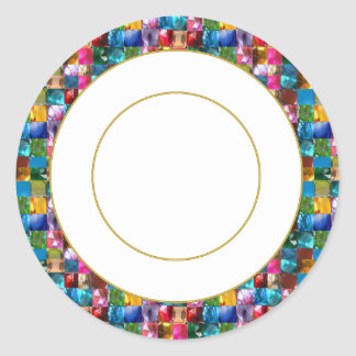 Gold n Jewels  Circle Round Decorative Sticker