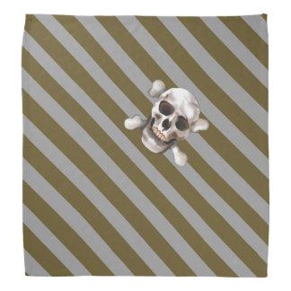 Gold 'n Silver Pirate Stripe w' Skull & Crossbones Bandanna
