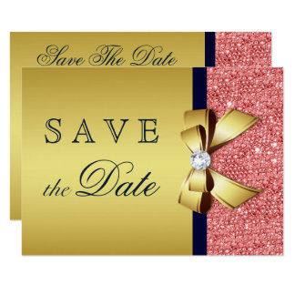 Gold Navy Coral Sequins Diamonds Bow Save The Date