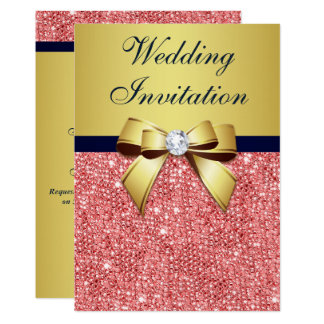 Gold Navy Coral Sequins Diamonds Bow Wedding