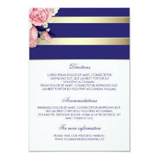 Gold Navy Floral Wedding Details - Information Card