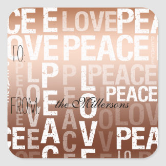 Gold Ombre Love Peace Gift Tag Sticker