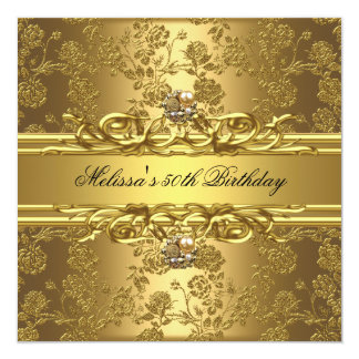 Gold On Gold 50th Birthday Party Jewels Floral 13 Cm X 13 Cm Square Invitation Card