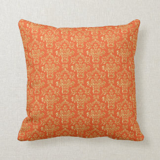 Gold Orange Damask throw pillow Throw Cushions