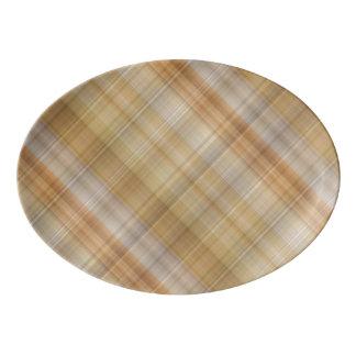 Gold & Orange Plaid Porcelain Serving Platter