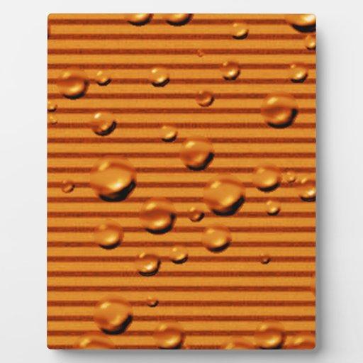 gold orange striped wet photo plaque