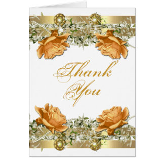 "Gold orange ""thank you"" wedding engagement greeting card"