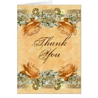 "Gold orange ""thank you"" wedding engagement greeting cards"