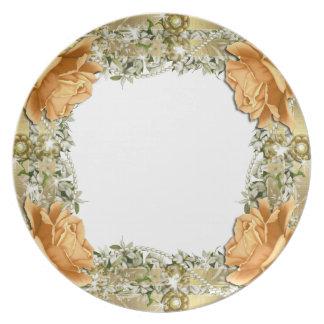 Gold orange wedding elegant dinnerware plate
