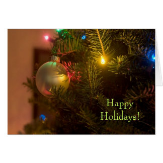 Gold Ornament Bauble Tree Lights Christmas Card