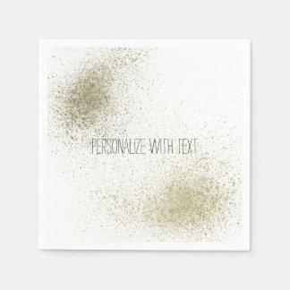 Gold paint splatter disposable napkins