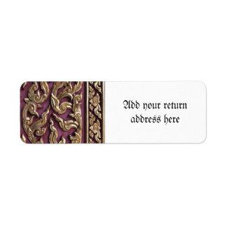 gold painted,wood carved,antique,floral,vintage, return address label