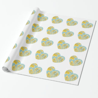 Gold Paisley Heart Wrapping Paper