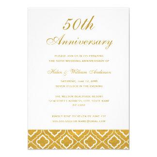 Gold Pattern 50th Wedding Anniversary Invitation