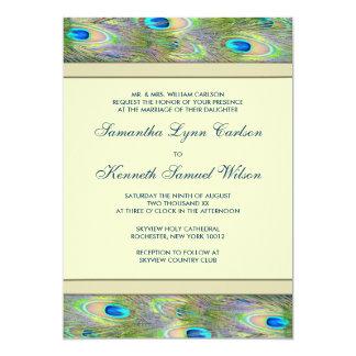 "Gold Peacock Wedding Invitations 5"" X 7"" Invitation Card"