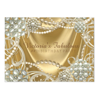 Gold Pearl Birthday Party 11 Cm X 16 Cm Invitation Card
