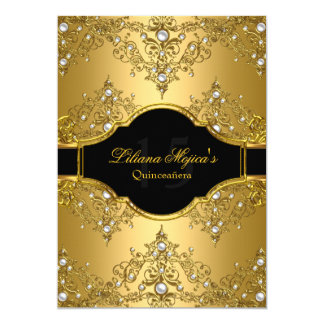 Gold Pearl Vintage Glamour Quinceanera 13 Cm X 18 Cm Invitation Card