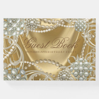 Gold Pearl Womans Birthday Party Guest Book