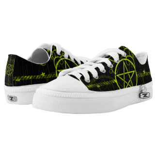 Gold Pentagram Grunge Kickers Printed Shoes