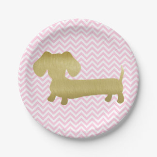 Gold & Pink Dachshund Wiener Dog Party Plates 7 Inch Paper Plate