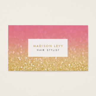 Gold & Pink Glitter Hair Stylist Appointment Cards