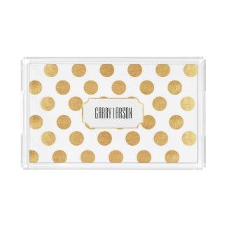 Gold Polka Dot Custom Acrylic Tray