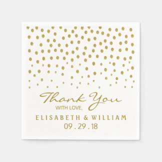 Gold Polka Dot Wedding Disposable Napkins