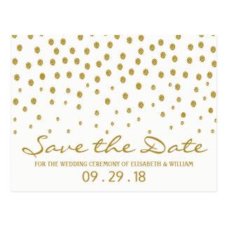 Gold Polka Dot Wedding Save The Date Postcard