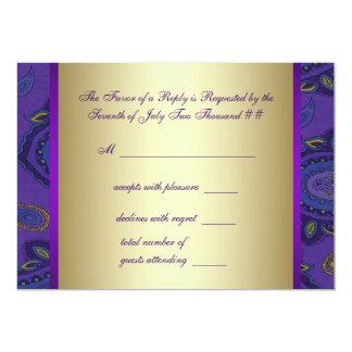 "Gold Purple Peacock Paisley Wedding RSVP 5"" X 7"" Invitation Card"