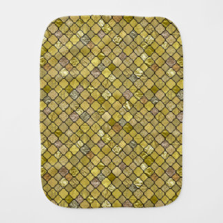 Gold Quatrefoil Foil Glitter Burp Cloths
