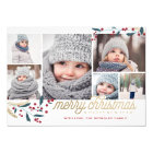 Gold Red Berries 6 Photo Collage | Merry Christmas Card