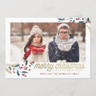 Gold Red Berries Photo Frame | Merry Christmas
